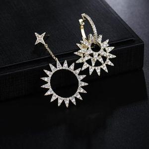 UMGODLY Luxury Sun Flower Earrings Cubic Zirconia Star Gear Asymmetry Earring Set Fashion Gold Color Women Jewelry