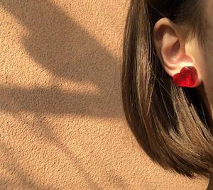 new red peach earrings winter cute mini earrings for women Korea transparent wine red peach heart love stud11