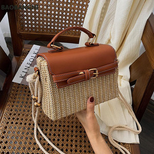 Богемные соломенные пакеты для женщин Beach Sumbags Summer Griending Rattan Bag Handmade Kintted Woven Crossbody сумка