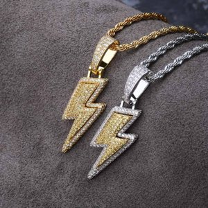Iced Out Bling Light Pendant Necklace With Rope Chain Copper Material Cubic Zircon Men Hip Hop Jewelry