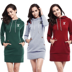 Atacado personalizado venda quente senhoras moda hoodie casual outono e inverno camisa de esportes de manga longa pulôver moletom vestido camisola