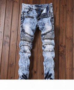 Мужские джинсы High Street Плиссированные Тонкий Stretch джинсы на молнии Дизайн Длинные Denim Blue Hip Hop Брюки карандаш брюки для мужского