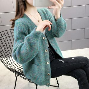 Women 2020 Spring Autumn New Fashion Cardigans Long Sleeve Buttons Pockets Sweater Female Casual Solid Knitted Outerwear G27