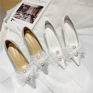 New Fashion Pearl Bows Donne Tacchi alti Tacchi alti da sposa Scarpe da sposa Balletto Bianco Silver Silver Damigella d'onore da sposa