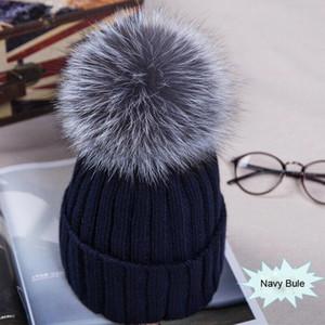 Meihuida Winter-Frauen Pom Pom Beanies warme weiche Strick Bobble Mädchen Pelz Pompom Hüte Mode Real Raccoon Skibekleidung