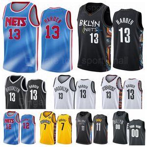 Basketball 13 James Harden 1 Bruce Brown Jersey 7 Kevin Durant 11 Kyrie Irving 12 Joe Harris City Gagnée Édition Classique Blanc Blanc Bleu