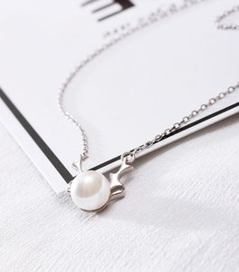 Hot Sale New Fashion Faux Pearl Necklaces 925 Sterling silver tree branch Pendants Choker for Women & Girl Charm Jewelry Birthday gift