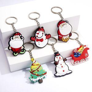 de dibujos animados de Navidad llavero accesorios cuelga bolso titulares de conjunto de claves muñeco de nieve de la moda de plástico árbol de navidad de santa voluntad y arena nueva
