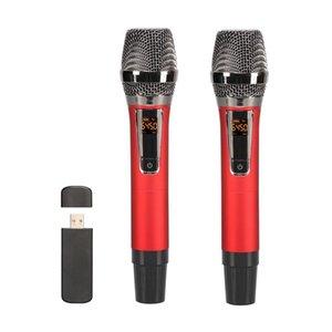 Microphone Wireless USB Microphone Metal Dynamic Lasessless Microphone مع جهاز استقبال USB للقاء الكنيسة في الهواء الطلق KTV
