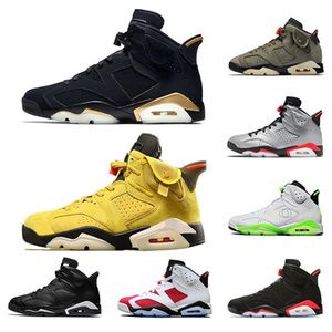 6 6s Men Basketball Shoes Dmp Hare Travis Scotts Washed Denim Black Infrared Reflective Mens Tinkers Sports Sneakers Runners with lo
