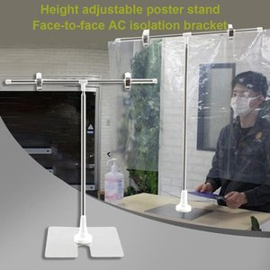 Adjustable Stainless Steel Poster Stand Mall Display Banner Stand Holder With Clip Desktop Stretchable Isolation Cloth Bracket