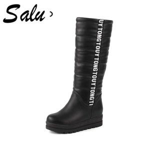 Salu 2020 New warm snow boots soft pu leather thick fur winter boots ladies footwear platform high mid calf plus size 11