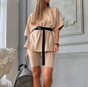 Fashion Casual Solid New Womens Two Piece Suit Including Belt Solid Color Home Loose Sports Fashion Leisure Suit Summer 38