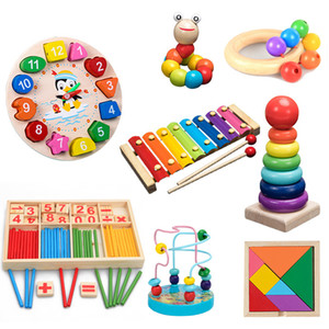 QWZ Montessori Toys Childhood Learning Children Kids Baby Colorful Wooden Blocks Enlightenment Educational Toy