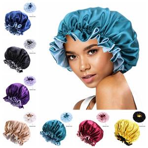 İpek Gece Cap Bonnet Çift Yan Şapkalar Kadın Kafa Kapak Uyku NightCap Saten Bonnet Güzel Saç Kuaförlük Banyo Şapka Ljjp733