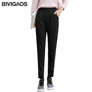 BIVIGAOS Spring Summer New Ladies Korean OL Black Harem Pants Breathable Thin Casual Pencil Pants Simple Suit Trousers For Women 201103