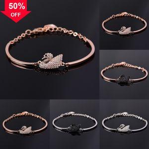xIfbm Natural bracelet ibiza Volcanic Swarovsk Rock Handmade Beaded Bracelet Inlaid Charm 925 sterling silver Crown swan Fashion Zircon Brac
