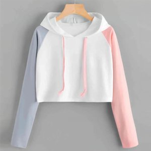 2020 Short Hoodies Fashion Women Casual Patchwork Long Sleeve Hoody Jacket With Hat Drop Shipping Good Quality