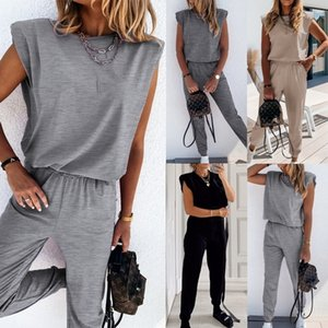 Womens 2 Pieces Sets Shoulder Pads T Shirts And Long Pants Female Tracksuit Sleeveless Solid Sport Suits Fashion Ladies Clothes 201104