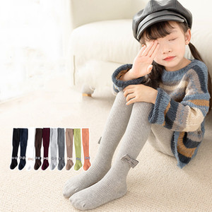 1 to 6 Years Girl Pantyhose Autumn Winter Children's Baby Tights Cotton Knitted White Black Pants For Kids leggings girls Size XS-XXL