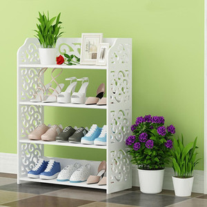 4 Tiers Shoe Rack Wood Plastic Shoes Shelf Multifunctional Storage Organiser Cabinet Home Living Room Furniture Shoe Racks 201109