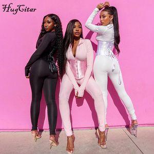 Hugcitar 2020 Long Sleeve Jumpsuit Bandage Corset 2 Pieces Set Autumn Winter Women Sexy Zipper Suit Romper Y2K Streetwear X0924