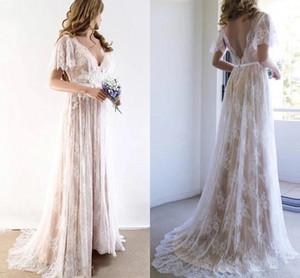 Bohemain Lace Wedding Dresses A Line Sexy V Neck Short Sleeves Bridal Gowns 2021 Sweep Train Plus Size Boho Beach Garden Vestidos AL7253