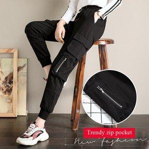 Cada uno de los pantalones de carga ocasionales de las mujeres femeninas talla grande steetwear tobillo longitud pantalones moda sueltos joggers pantalones sutilles Q0112