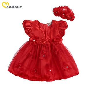 Ma&baby 0-3y Newborn Infant Baby Girls Red Dress Princess Flower Tulle Tutu Party Dresses For Girls Birthday Wedding C jllDQP