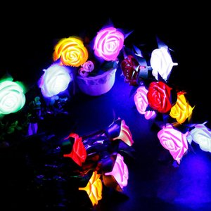 LED Rose Flower Valentine's Day Luminous Glowing Flowers Party Wedding Decoration Light Up Rose Flower Lighting Flashing for Girls Z188