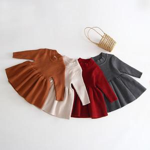 Xmas младенца девушки Красное трикотажное платья осень зима Дети Половина водолазка с длинным рукавом вязание платье младенца дети свитер плиссированные платья A5077