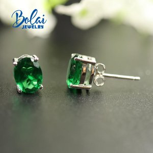 Bolaijewelry, Created green emerald earring oval 6*8mm 925 sterling silver fine jewelry,Simple design, for women best gift