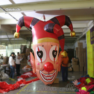 Halloween Decorative Hanging Inflatable Clown Head 2m 3m Giant Pendent Clown Mask Balloon For Ceiling Decoration