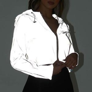 Casual Sport Hooded Short Coat Women Crop Top 2020 Autumn Reflective Female Jacket Casaco Feminino Sudadera Female Streetwears