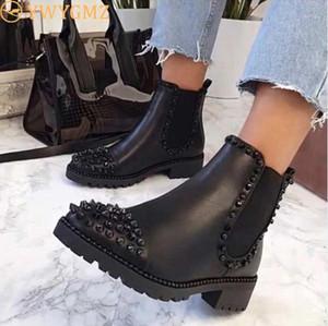 BLWBYL 2020 Sexy Rivet Velvet Night Club Soirée Chaussures Femme Automne Automne Hiver Dames Chaussures Boots1
