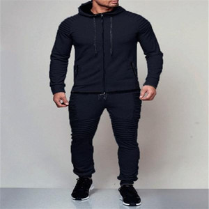 2020 new style, men's sportswear, spring and autumn models, men's sportswear, pure black cardigan hoodie suit, track suit men&#039