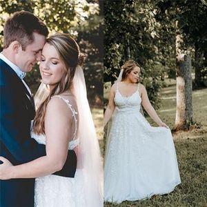Cheap Plus Size Aline Tulle Appliques Wedding Dresses Sleeveless Vestido de noiva Floor Length Bridal Gowns Hot Sales