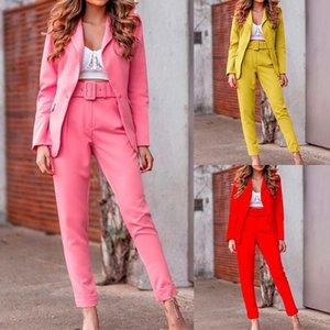 Womens Winter Two Piece Long Sleeve Lapel Button Blazer Coat Jacket Plain Pants Slim Ladies Casual Suit Set