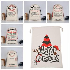 Noel Çuval Çanta 37 Stiller Büyük Canvas Merry Christmas Candy Bag Santa Çuval Noel Çorap Reindeer Hediye Noel Dekor DDA680