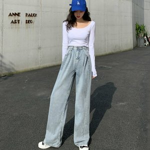Oneimirry Light Blue High Waist Jeans Women Wide Leg Loose Casual Woman Mom Jeans Korean Clothes Slim Trousers Autumn 2020 A1112