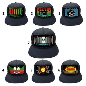 Light Up Sound Activated Baseball Cap DJ LED Flashing Hat With Detachable Screen For Man Woman 201026