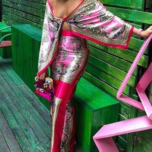 Baskı pelerin tarzı üst pantolon seti ile Y200110