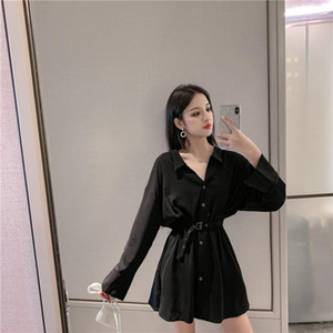New temperament scheming female trend line new early autumn women's long sleeve design niche shirt French black dress