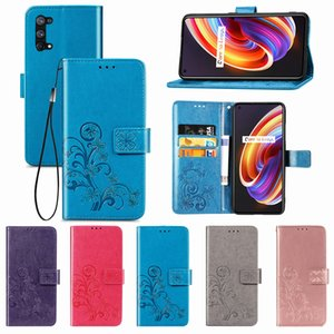 Wallet Cases For OPPO Realme X7 PU Leather Covers Lucky Four Leaf Clover Pattern with Hand Strap(Model:REALMEX7)