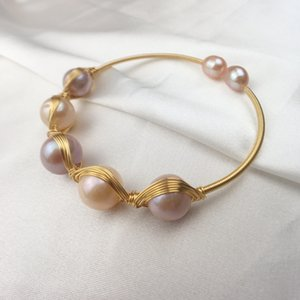 AIYANISHI Natural Fresh Water Pearl charm Bangles For Women Adjustable Bracelets Pulseras Handmade Fine Luxury Jewellery