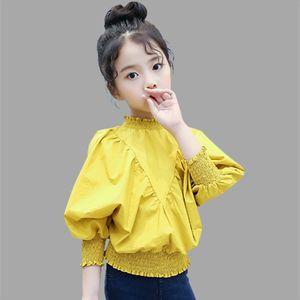 Blouse d'école blanche Abeesay Automne pour chemise à manches longues Kid Solid Endnest Vêtements 4-12 T Y200704