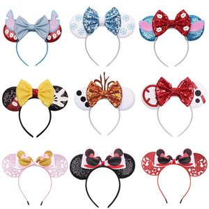 Mädchen Sequin Bogen Haar-Accessoires Mouse-Ohren Stirnband-Kind-Haar-Sticks Babykinder nette Halloween Weihnachten Cosplay Kopfschmuck Haarband