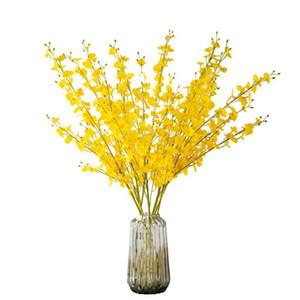 Flores artificiales amarillas de plástico de seda de plástico floral decoración de boda flores falsas decoración del hogar decoración de hoteles suministros de fiesta gwe4735
