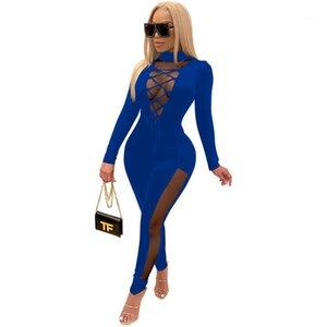 Bendaggio a maniche lunghe slim pannellata di moda Nuovo Designer Womens Tutesuits Sexy Mesh Sheer Womens Skinny Pagliaccetto