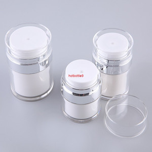New 15g 30g 50g Empty Acrylic Cream Jars Cans Pot Top Press Style Vacuum Bottle Sample Vials Airless Cosmetic Container 6pcs lotpls order